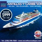 Crucero Pullmantur Antillas y Caribe Sur SIN VISA, Viajes desde México temporada 2017-2018